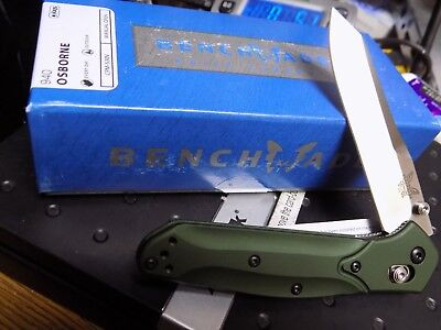 Benchmade 940 Osborne Green Aluminum Handle Knife Plain Edge Blade