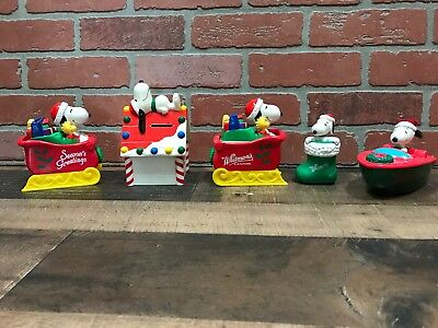Lot Of 5 Vintage Snoopy Christmas Whitman's Banks Other