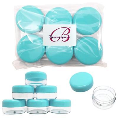 24 Pieces 15G/15ML Round Clear Cosmetic Cream Sample Jars Teal Lids BPA Free