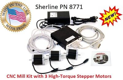 Sherline PN 8771  4 axis controller, Power Supply + 3 High torque Stepper Motors