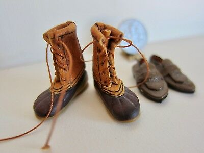 Vintage Dollhouse Miniature Doll's Cobbler Pac Boots and Men's Leather Loafers