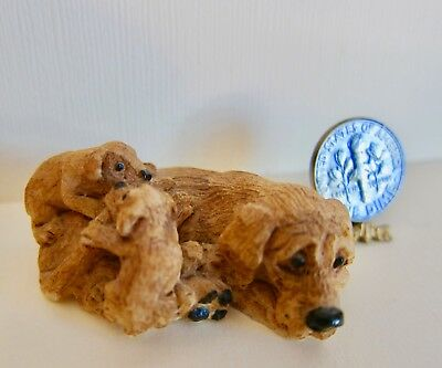 Vintage Dollhouse Miniature Dog BLOODHOUND AND PUPS resin 1980's 1:12 scale