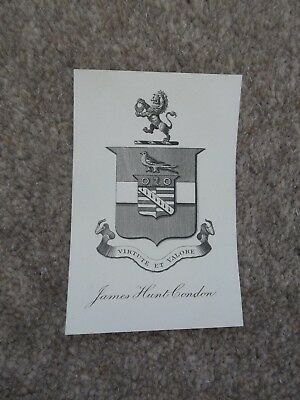 Book plate James Hunt Condon Virtute et Valore Arms 1873