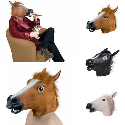 Cosplay Halloween Horse Head Mask Latex Animal Zoo Party Costume Props Toys US