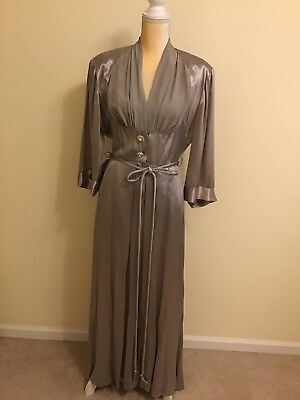 Vintage 30s Hollywood Hostess Gown Satin And Rhinestones Med Glamorous