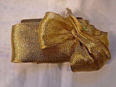 "Antique 1920's Gold Lame' Ribbon - Woven Edge - 2-7/8"" Wide - Stunning - Bty"