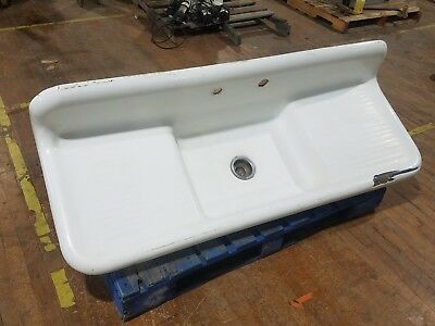 "60"" Farmhouse Kitchen Sink Cast Iron Porcelain Single Basin Double Drainboard"
