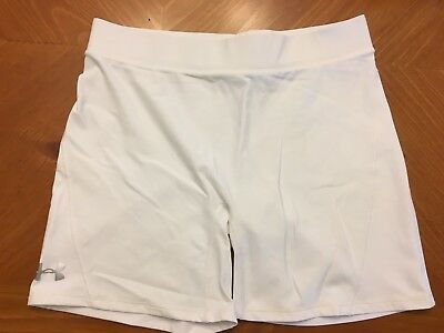 Youth White Under Armour Compression Shorts Size Large EUC