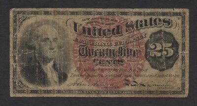 1863 25 Cent Fractional Currency Note ~ Civil War era features George Washington