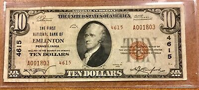 1929 $10 First National Bank of Emlenton, PA  ty2 Charter 4615 #1803  Venango Co