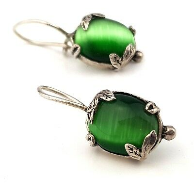 Vintage Jewellery Stunning Silver Cat's Eye Green Chrysoberyl Earrings