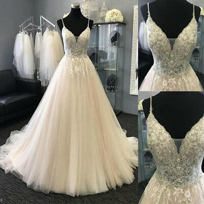 Champagne Wedding Dress Bride Gown Spaghetti Straps V Neck Light Beads Applique