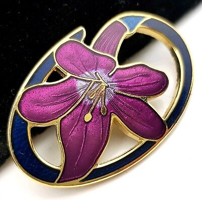 Vintage Jewellery Pretty Signed Cloisonne Enamel Flower Brooch