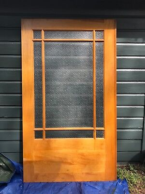 Mid Century Modern Doors, pair of pocket doors, solid wood and glass