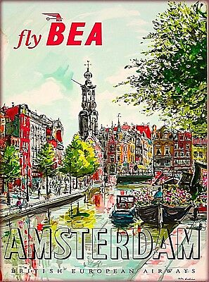Fly BEA to Amsterdam Holland Europe Vintage Travel Art Poster Advertisement