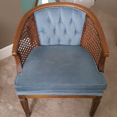 1 Vintage Mid Century Modern Cane Wood Barrel Back Accent Chair