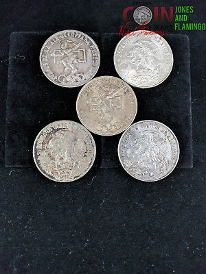1968 Mexico Olympics 25 Peso Silver Coins - Lot Of 5 #5574