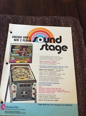"Pinball Sales Flyer Chicago Coin Pinball""Sound Stage"" 2 Player 1976"
