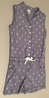 Oshkosh Girls Sz 7 Romper Blue White Anchors
