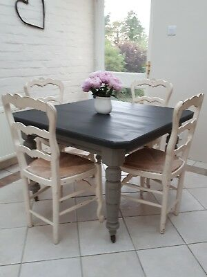 Victorian extending shabby chic dining kitchen table (mahogany) with crank