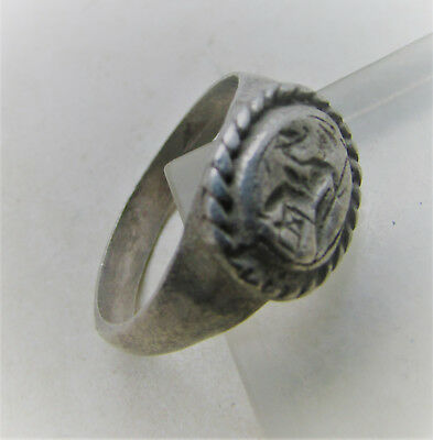 Scarce Circa 100-400Ad Roman Era Silver Ring With Zues Seated On Throne
