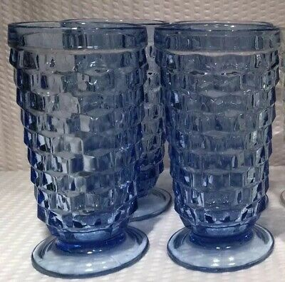 Lot Of 8 ~ Vintage Whitehall Light Blue & Clear Glass Tumblers