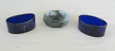 lot of 3 salts antique blue glass and stone jade ? liners inserts