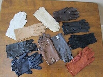 11 PAIRS WOMEN'S GLOVES Name Brands KID LEATHER size 6-6 1/2 1950-60's