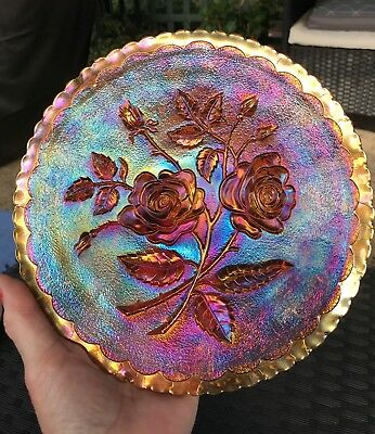 """CARNIVAL GLASS,EARLY 1900's,AMBER,OPEN ROSE, PLATE.9"""".IMPERIAL."""