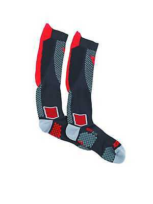 Dainese D-Core High-Length Adult Footbed Compression Socks, Black/Red, Large/LG