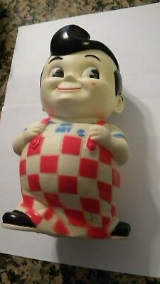 VINTAGE LARGE 1970s BOBs BIG BOY RUBBER STILL COIN PIGGY BANK 10 INCHES TALL