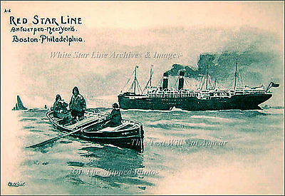 Red Star Line Advertisment Artist Sketch Featuring SS Finland From 1903