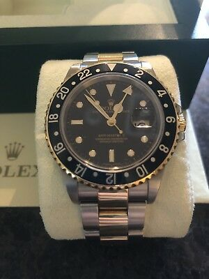 Rolex Gmt Master Ii 16713 K Serial Two Tone With 18 Karat Gold Black