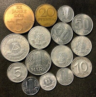 Old East Germany/DDR Coin Lot - 1948-COLDWAR - 15 Great Coins - Lot #914