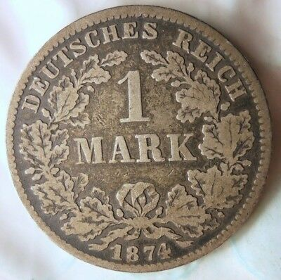 1874 D GERMAN EMPIRE MARK - Rare Date/Mint Silver Coin - Lot #914