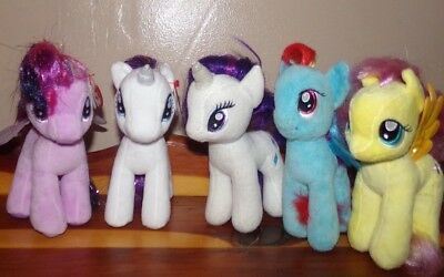 Ty Beanie Babies My Little Pony LOT OF 5 ~ Pegasus Unicorn Fluttershy Rarity