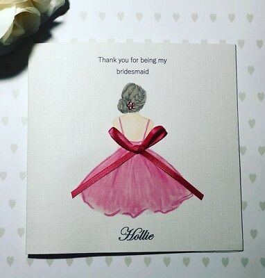 Thank you for being my Bridesmaid/ Maid of Honour handmade Card - Personalised