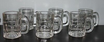 Vintage Original Lot of 6 A&W Root Beer Mini Mugs Glass Set Raised Logo Letters