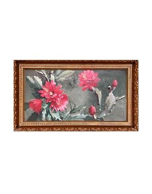 19th Century Still Life Painting of Cactus in Bloom on Board in Gilt Wood Frame