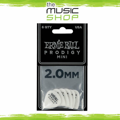 6x Ernie Ball Prodigy 2.0mm Mini White Guitar Picks - 6 pack of Plectrums - 9203