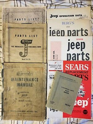 Vintage Willys overland jeep CJ 2A parts lists maintenance manuals and op data