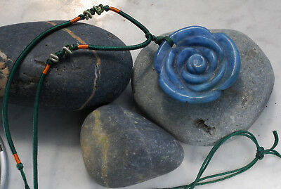 Vintage Chinese Blue Jade Flower Pendant on Silk Cord Necklace New Old Stock