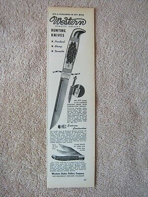 Vintage 1949 Western Hunting Knife Knives 677 Stag Handle Clasp 6206 Print Ad