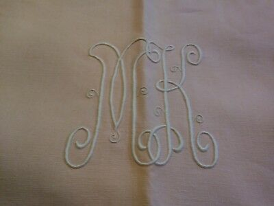 Gorgeous Dusty Rose Fine Linen Embroidered Madeira Tablecloth with 4 Napkins