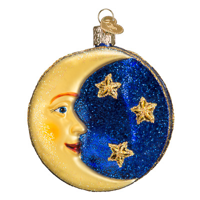 """""""Man in the Moon"""" (22018)X Old World Christmas Glass Ornament w/ OWC Box"""