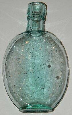 Antique S H Glass Bottle Flask Aqua Blown Glass