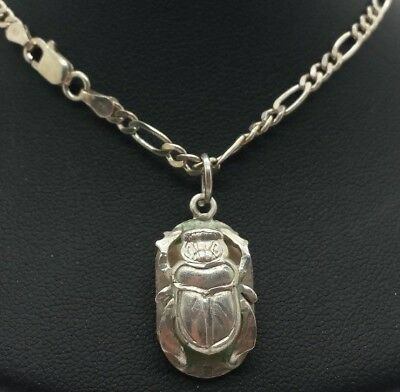 "Vintage Egyptian Scarab Beetle Design Sterling Silver 925 Necklace 11g 20"" A3472"