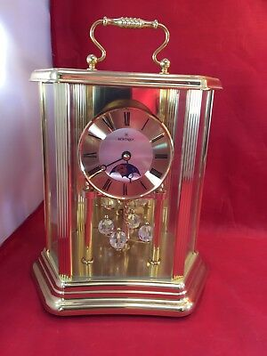 Vintage Montreux Moon Phase Mantle Clock With Chime F/W. Germany & Org. Box.