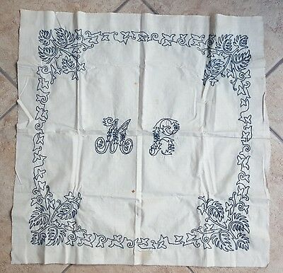 2 Antique Embroidered Pillow Case Covers Lay Over Sham + 1 1920s Layover Cover