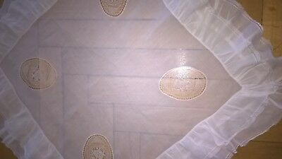Amazing Antique Nuns Expertly Hand Made  Point De Venise Lace Tea Tablecloth
